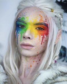 Simple face painting designs are not hard. Many people think that in order to have a great face painting creation, they have to use complex designs, rather then simple face painting designs. Face Paint Makeup, Fx Makeup, Blush Makeup, Cute Makeup, Crazy Makeup, Rainbow Face Paint, Makeup 2018, Rainbow Makeup, Creative Makeup Looks