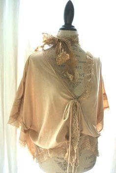 Romantic boho shabby shirt, country chic wrap, gypsy rose batwing top, boho chic, bohemian, western gypsy cowgirl, womens clothing. $68.00, via Etsy.