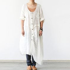 Women Loose Fitting Linen Shirt Dress Long Sleeve – Buykud