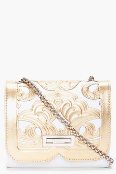 Gold embossed leather bag