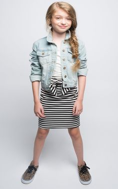 Get in line...Or not! Either way the Line Up Striped Pencil Skirt features a bold black and white stripe detail with a major bow sitting front and center. Looks perfect with a cami, light denim jacket
