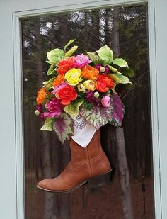 Cowboy Boot Decor Cowboy Boot Floral by ADoorForEverySeason