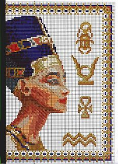 Nefretiti cross stitch pattern