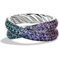 David Yurman Crossover Ring with Color Change Garnets in White Gold