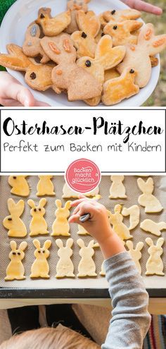 Osterhasen-Plätzchen aus Mürbteig Classic recipe for simple Easter biscuits. The Easter bunny cookies are made from a simple short crust pastry. The cookies for Easter you can bake great with kids. Easter Biscuits, Cookie Recipes, Dessert Recipes, Pastry Cook, Shortcrust Pastry, Easter Cookies, Galletas Cookies, Easter Dinner, Easter Recipes