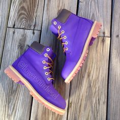 Purple Timberland Boots Womens' Sizes by FlowerSourDiesel on.- Purple Timberland Boots Womens' Sizes by FlowerSourDiesel on Etsy - Purple Timberland Boots, Timberland Waterproof Boots, Timberland Boots Women, Timberland Outfits, Sock Shoes, Cute Shoes, Shoe Boots, Ankle Boots, Gyaru