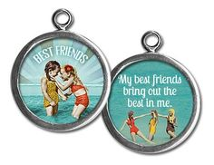"""Two sided charm or pendant with """"best friends"""" and """"my best friends bring out the best in me"""". Vintage collage art with two little girls on the beach. Wear alone or combine with more charms to create an individualized gift for your best friend! Each charm has a clip at the top that will easily attach to any of our necklace or bracelet chains! $13.99 by Pick Up Sticks Jewelry."""