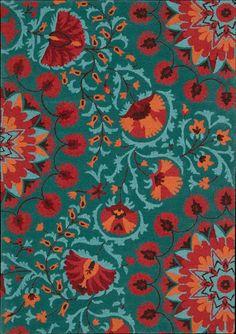 Nourison Industries - Area Rug Collections - Suzani orange aqua teal turquoise