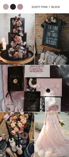 dusty pink and black fall wedding color ideas . him to do the Wedding . - dusty pink and black fall wedding color ideas … him to do the Wedding AttireAdding a bit - Marie's Wedding, Fall Wedding Flowers, Spring Wedding, Wedding Bouquets, Dream Wedding, Wedding Ideas, Black Wedding Themes, Budget Wedding, Autumn Wedding