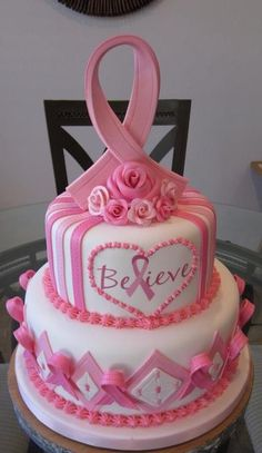 Breast cancer think pink ribbon cake Pretty Cakes, Cute Cakes, Beautiful Cakes, Amazing Cakes, Breast Cancer Cake, Ribbon Cake, Gateaux Cake, Love Cake, Creative Cakes