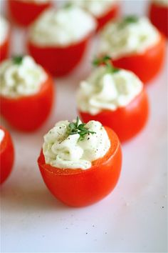 Cherry Tomato Bites with Cucumber Cream Cheese Filling