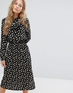 #ASOS - #Suncoo Suncoo Printed Midi Dress - Black - AdoreWe.com