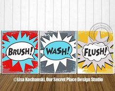 Children's Superhero Bathroom Wall Art Décor by OurSecretPlace, $42.00 These super cute and colorful designs inspire your kids to practice good hygiene. Available as a set in high definition prints that I print and mail to you or as printable art that you print yourself.