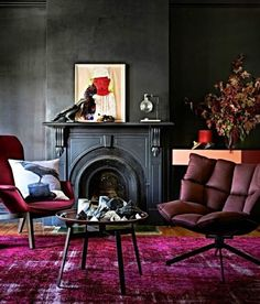 interior design, home decor, rooms, living rooms, black, pink, goth