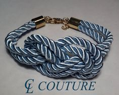 Light Blue Nautical Silk Rope Infinite Knot Bracelet by CLCouture