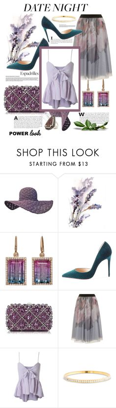 """Purple power!!!"" by marleen1978 ❤ liked on Polyvore featuring Irene Neuwirth, Christian Louboutin, Rodo, Little Mistress, Pamela Love, Summer, DateNight, chic, espadrilles and powerlook"