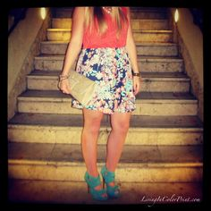 Floral Skirt & Turquoise Heels
