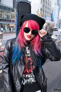 Pink & Blue Dip Dye Hair in Harajuku