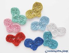 Pattern Crochet heart Applique Motif Garland от crochetgiftsshop