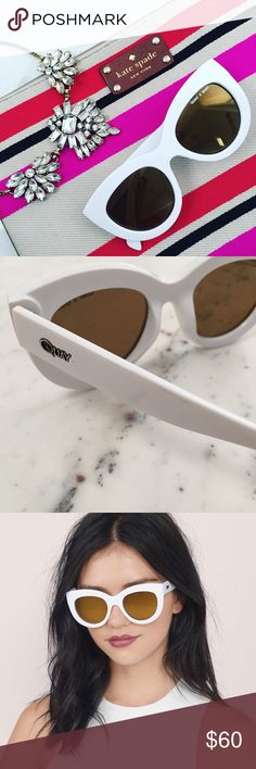 """NWT Quay Jinx Sunglasses in White & Gold These authentic Jinx sunglasses by Quay X Shay (Shay Mitchell, of Pretty Little Liars) have white cat eye frames with gold mirror lenses. They offer 100% UV protection. The hinges are made from stainless steel. There are no scratches or damage. New with tags.  Frame Width: 5.6"""" Temple Length: 5.75"""" Lens Height: 2.25"""" Lens Width: 2.5"""" Bridge: 0.31""""  📷 1 & 2 : ericarose1989 📷 3 : Tobi 📷 4 : Showpo Quay Australia Accessories Sunglasses"""