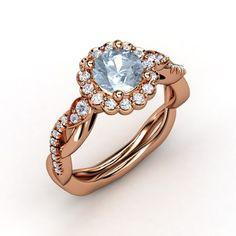 The Lucinda Ring customized in aquamarine, diamond and rose gold