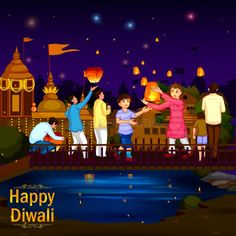 Indian Family People Celebrating Diwali Festival Of India Stock Vector - Illustration of happy, creative: 101004908 Diwali Pictures, Diwali Images, Festivals Of India, Indian Festivals, Night Illustration, House Illustration, Drawing For Kids, Art For Kids, Village Scene Drawing