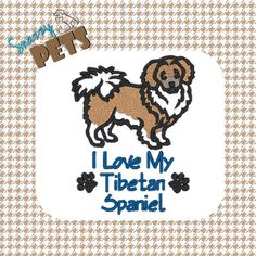 #TibetanSpaniel I Love My Tibetan Spaniel embroidered on tote bag by SnazzyPets, $25.00