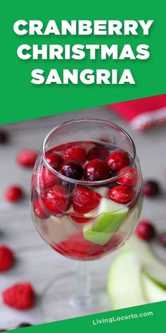 Easy Christmas Sangria recipe with cranberry, raspberry, apples and white wine is an elegant cocktail drink for a Holiday party. Cranberry Recipes, Sangria Recipes, Margarita Recipes, Cocktail Recipes, Cranberry Juice, Drink Recipes, Fruity Drinks, Yummy Drinks, Alcoholic Drinks