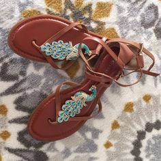 Peacock crystal sandals Great condition, very unique!! Gianni Bini Shoes Sandals