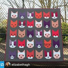 These kittens are adorable! #quiltsofinstagram #Repost @elizabethagh ・・・ The Kittens pdf pattern is coming Monday! Print version to follow. #kittensquilt #rhodaruthfabric