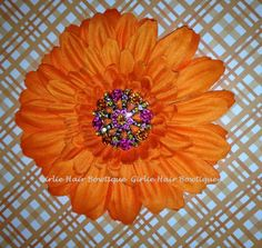 Orange 4 Gerber Daisy with Orange Hot Pink by girliehairbowtique