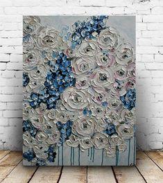 SALE Blue Cream Impasto Painting Blue Flowers Painting
