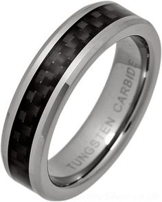 Ladies Tungsten and Black Carbon Fibre Ring. Women's sizes J to S in stock.
