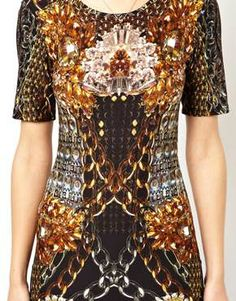 Bild 3 von ASOS Premium – Figurbetontes Kleid mit Kettenmuster