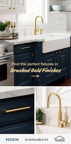 Find the perfect brushed gold addition for your dream kitchen at Diy Kitchen Cabinets, Painting Kitchen Cabinets, Kitchen Furniture, Kitchen Storage, Dark Blue Kitchen Cabinets, Cream Cabinets, Furniture Cleaning, Kitchen Cupboard, Kitchen Counters