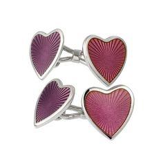 Aspry Cufflinks in enamel heart shaped cufflinks in sterling silver with pink and plum enamel.