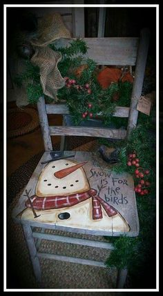 40 Top Diy Painted Chair Designs Ideas Try - Page 34 of 47 Christmas Chair, Primitive Christmas, Christmas Signs, Outdoor Christmas, Rustic Christmas, Christmas Art, Christmas Projects, Christmas Holidays, Christmas Decorations
