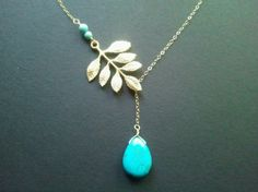 Lariat Multi Leaves with Turquoise Gold Lariat Necklace, Pendent necklace,bridal gift, wedding jewerly,Mother's Day Gift by LaLaCrystal on Etsy https://www.etsy.com/listing/92167122/lariat-multi-leaves-with-turquoise-gold