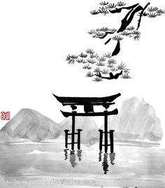 Torii - sumi-e This is a for ! Torii - sumi-e Japanese Drawings, Japanese Artwork, Japanese Painting, Chinese Painting, Sumi E Painting, Drawn Art, Art Asiatique, Japon Illustration, China Art