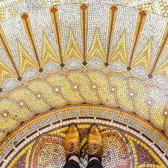 75009 - Boulevard Haussmann Another beautiful mosaic floor of the ancient building of @societegenerale. ...