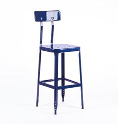 Aurora Industrial Bar Stool With Back-cobalt Blue. by Rejuvenation Industrial Counter Stools, Counter Stools With Backs, Next At Home, Furniture Decor, Light Fixtures, Aurora, Interior Design, Search, Home Decor