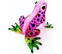 Lampwork COLLECTIBLE MINIATURE HAND BLOWN Art GLASS Pink Frog FIGURINE