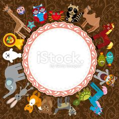 Set of funny cartoon animals character on brown background. zoo. Royalty Free Stock Vector Art Illustration