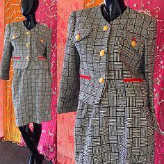 Vestido de brocado mod Helga Saks Fifth Avenue traje Vintage años 80 Mod Tweed de lana costura Vestido