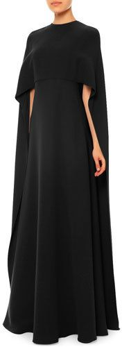 Valentino Jewel-Neck Half-Sleeve Capelet Gown, Black https://api.shopstyle.com/action/apiVisitRetailer?id=494456117&pid=uid8721-33958689-52