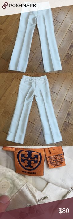"""Tory Burch silk blend pants What a gorgeous pair of cream colored silk blend pants from Tory Burch! These are classy and elegant at the same time. They are size 8 and have a zipper fly with two hook and loop fasteners. They are in excellent condition, however there are two small spots on the front of the left hip/thigh area which I noted in the fourth photo. Approximate inseam is 30.5"""" and measurement across the waist when laid flat is approximately 16.5"""". Tory Burch Pants"""