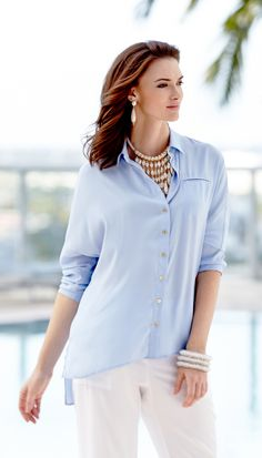 The Hidden Pocket Shirt: Loosened up meets pulled together in one timeless beauty.