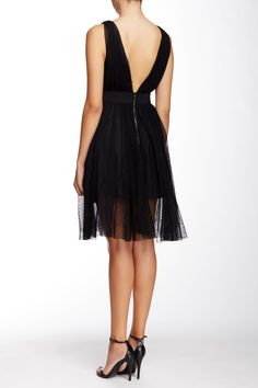 V-Neck Mesh & Tulle Mini Dress by A.B.S. by Allen Schwartz on @nordstrom_rack
