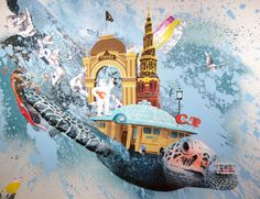 """Copenhagen Seaturtle"" 90x120cm Painting by Frederik Hesseldahl_ The Art of Clean.dk 2014"