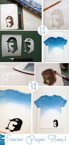 petit à petit and family: DIY: Penguin at the North Pole T-shirt Fabric Paint Shirt, How To Dye Fabric, How To Make Clothes, Diy Clothes, Sewing Clothes, Penguin Art, Penguin Parade, T Shirt Stencils, Freezer Paper Stenciling